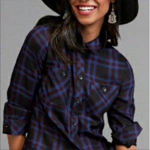 CAbi 3431 Moody Plaid Check Peplum Blouse XL